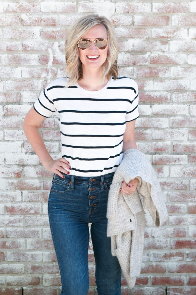 Bridget in jeans and striped tee