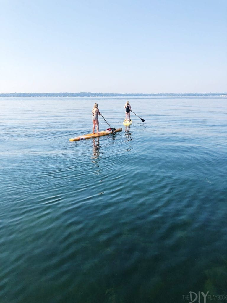 Paddleboarding on lake geneva