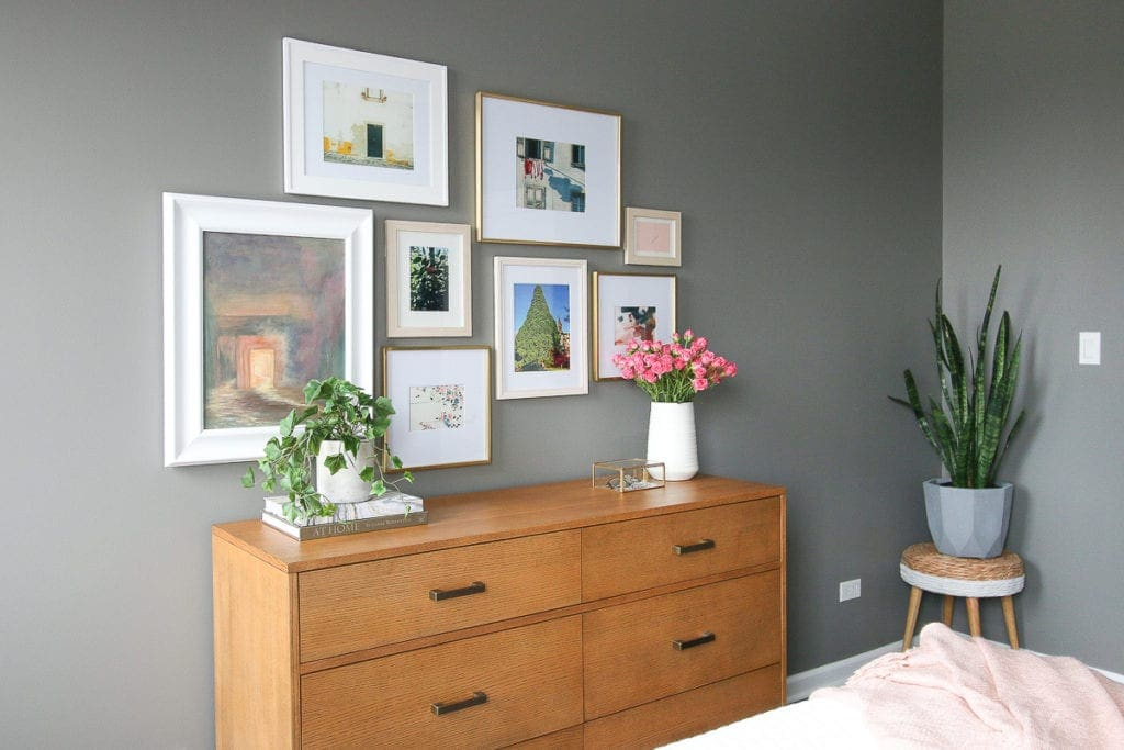 Gray paint color with a light gallery wall