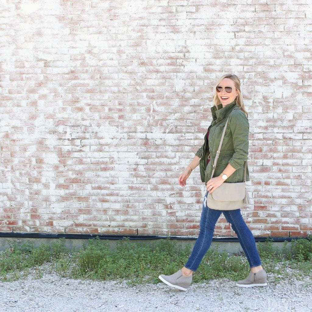 Wear a green army jacket over any fall blouse