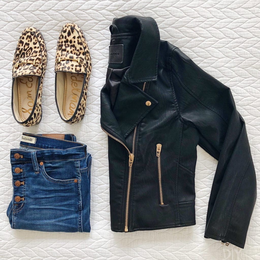 A leather jacket and jeans from the Nordstrom Anniversary Sale