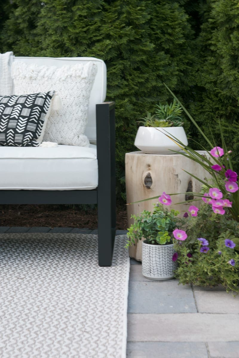 Outdoor side table and couch