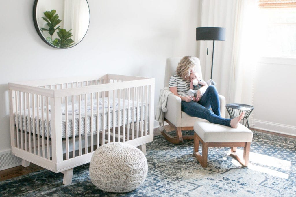 reviewing a light colored nursery rocker