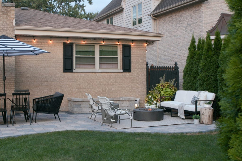 Outdoor space with string lights
