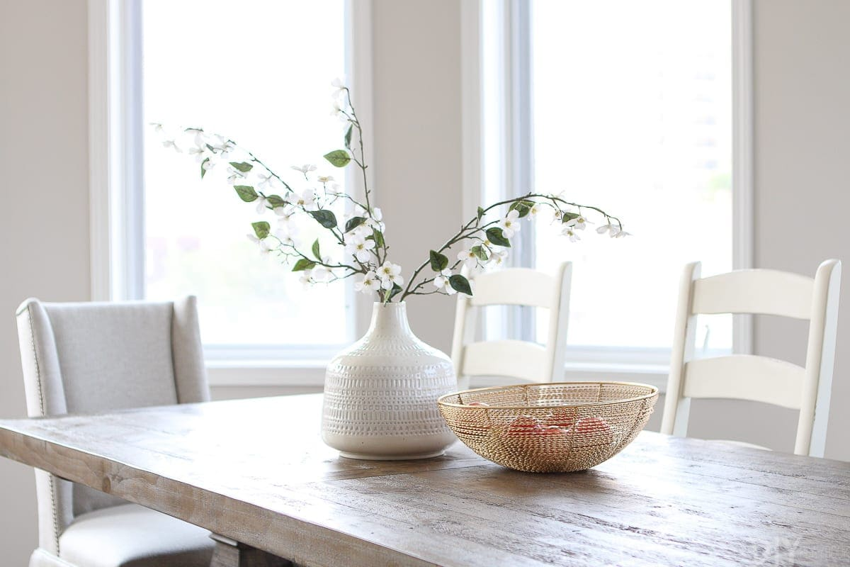 Faux greenery in a vase