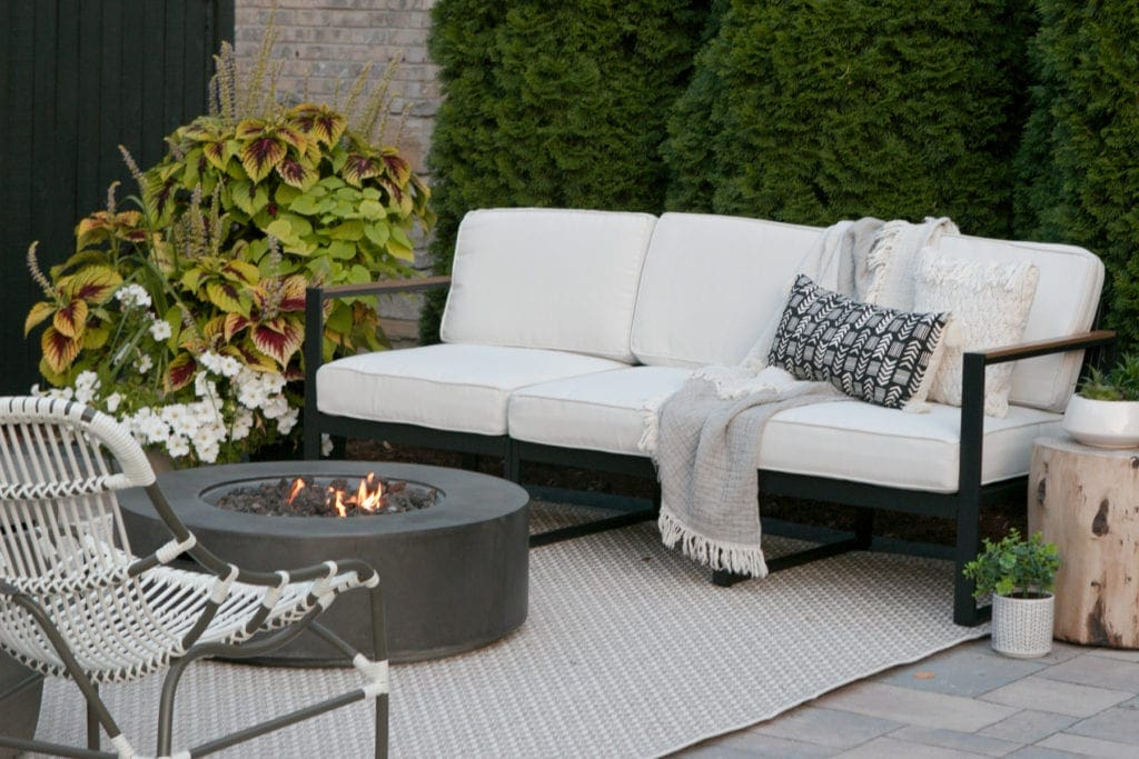 neutral patio with modern firepit