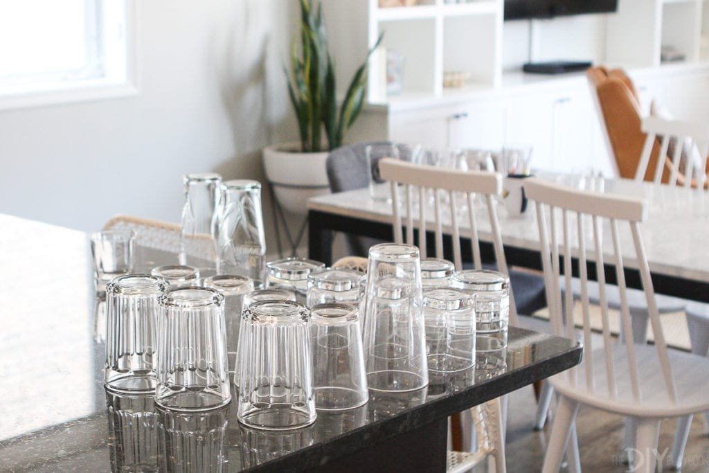Organizing dishes and glasses in the kitchen