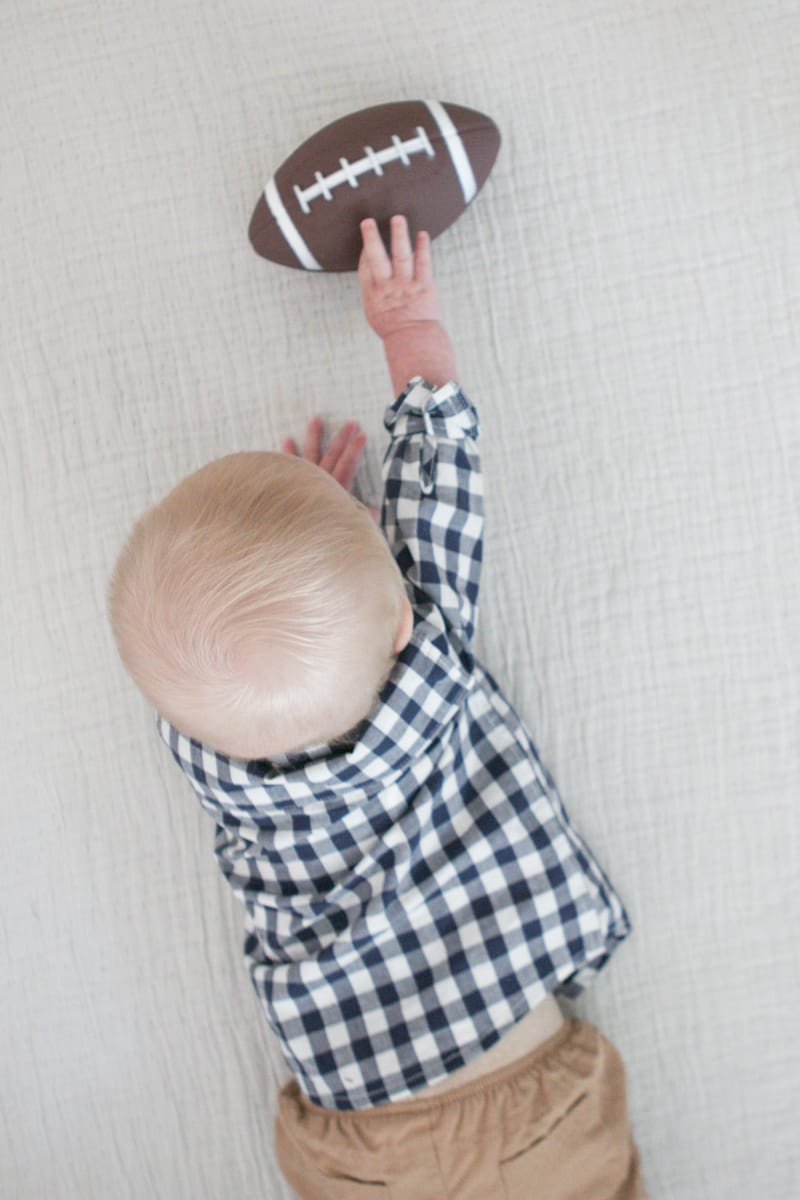 Baby pictures with checkered shirt and football