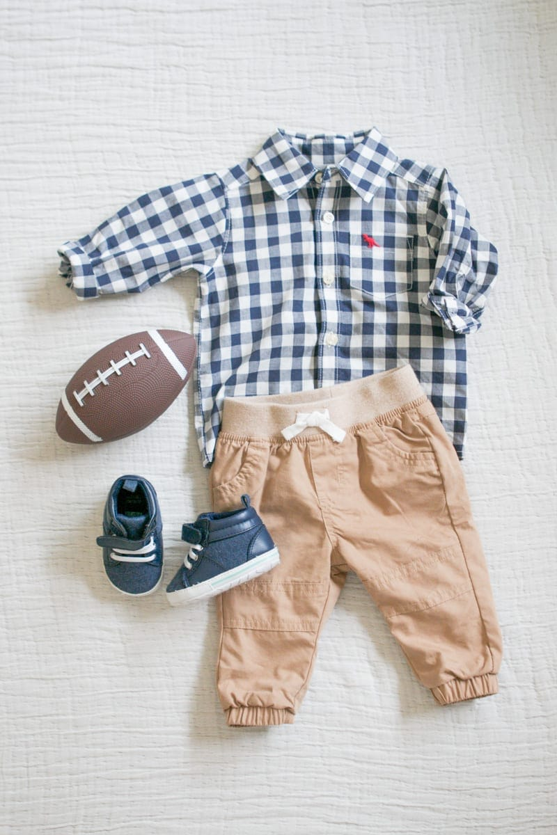 Khaki pants and checkered shirt for a newborn