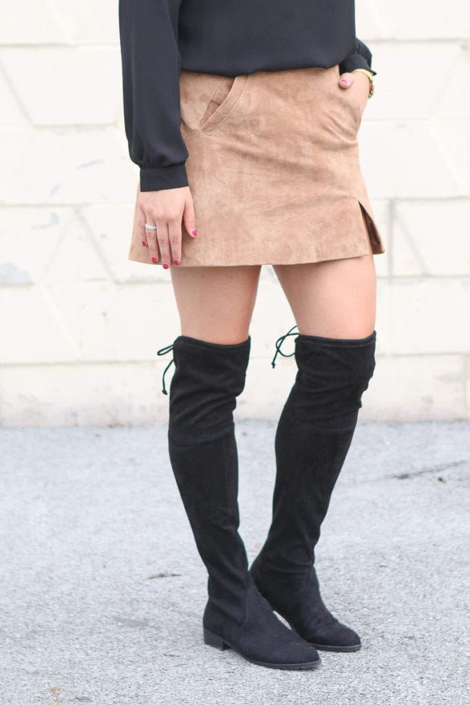 Wearing over the knee boots with a skirt