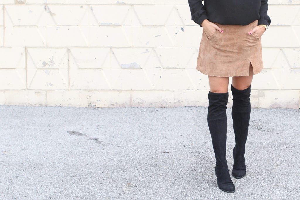 Over the knee boots with a skirt for the fall season