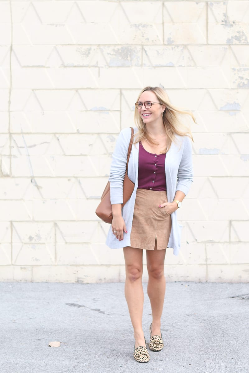 styling a suede skirt for fall