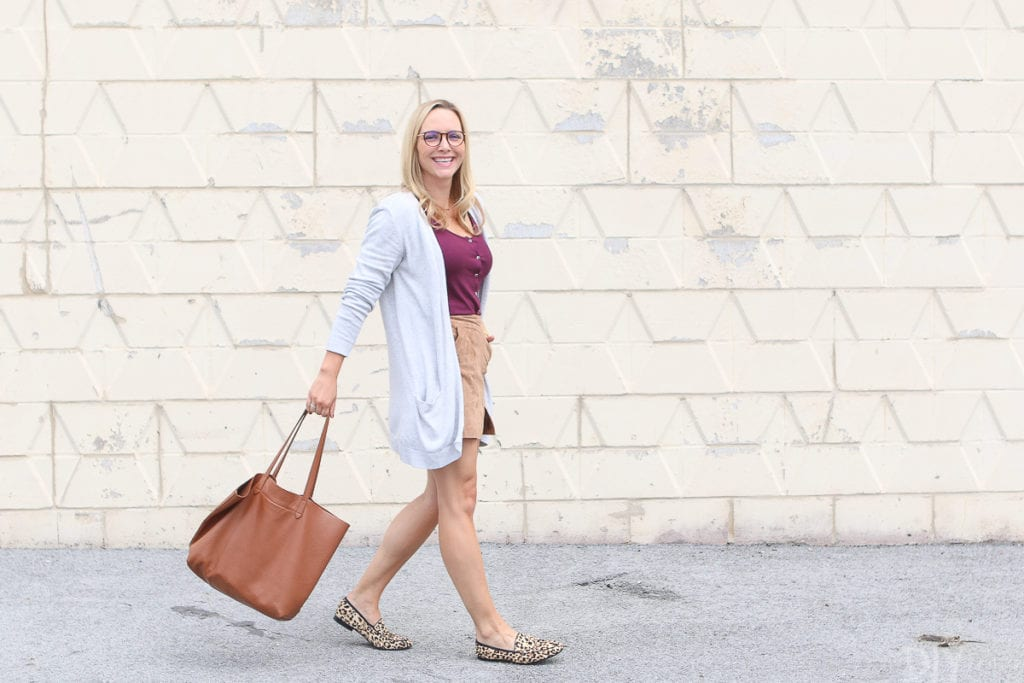 Walking with a bag from cuyana
