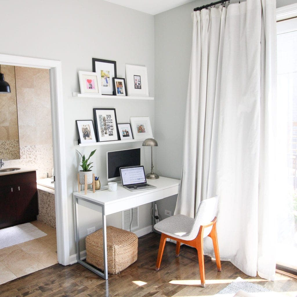 A small office and desk in a bedroom