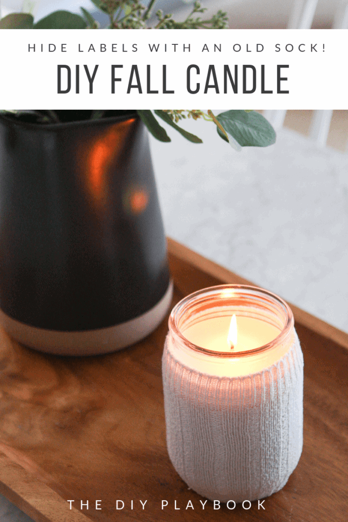Make a fall candle holder with an old sock