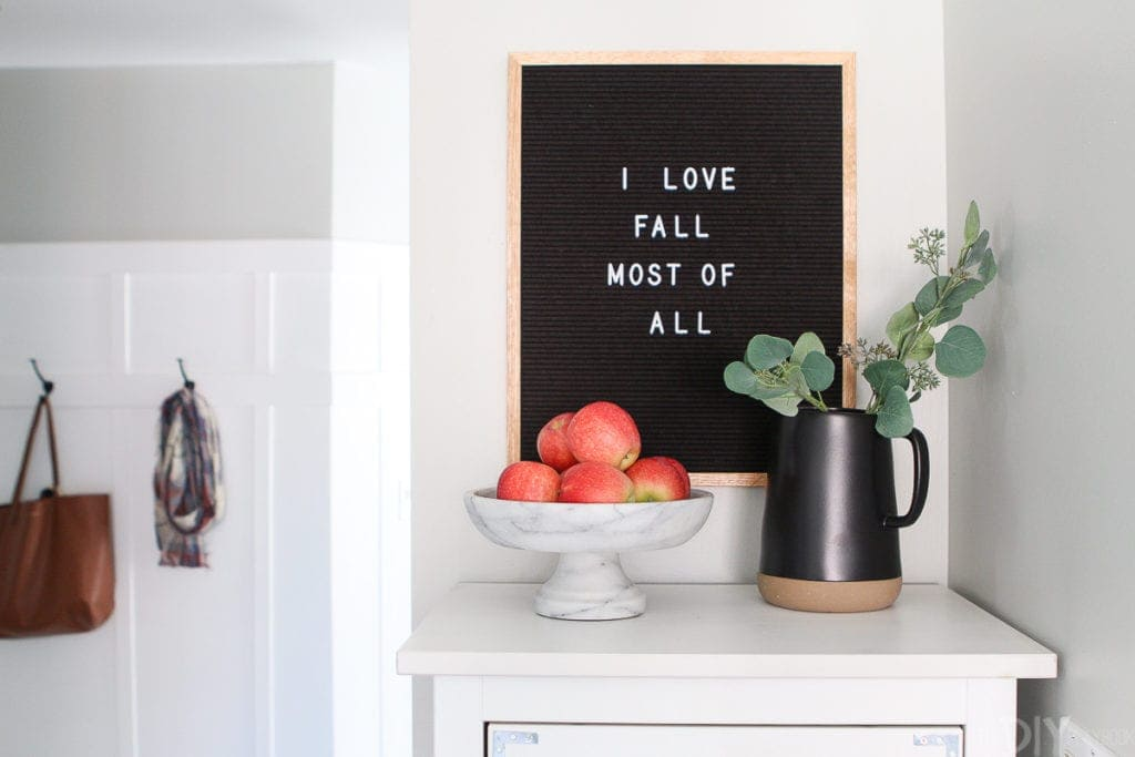 Letter board with fall quote