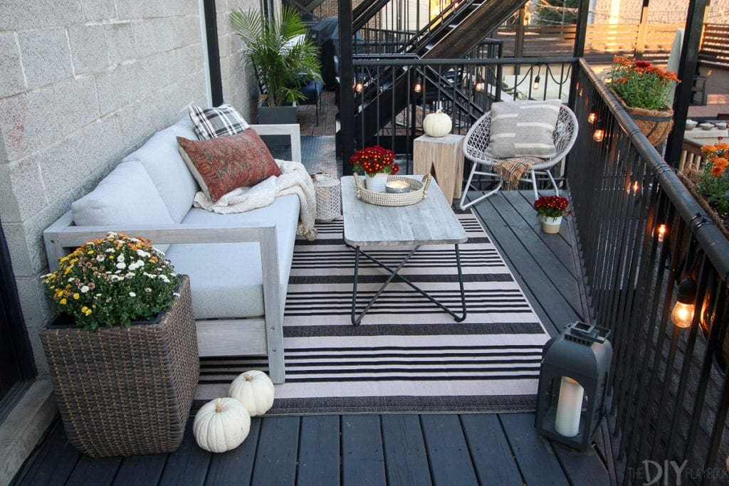 A city balcony makes the perfect fall patio