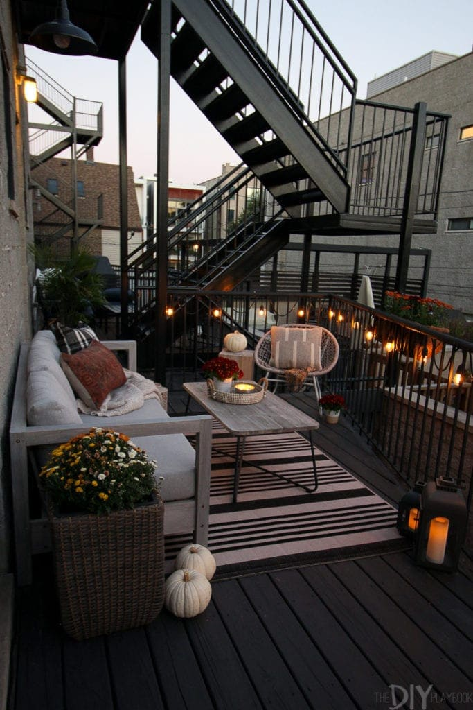 A fall patio in the evening