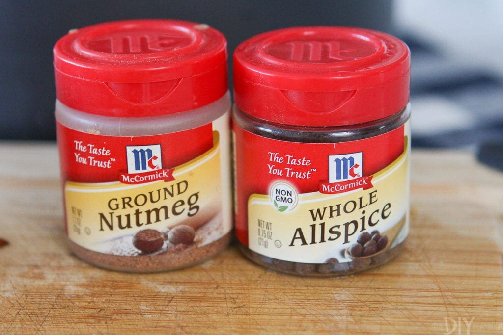 Ground nutmeg and whole allspice for a recipe