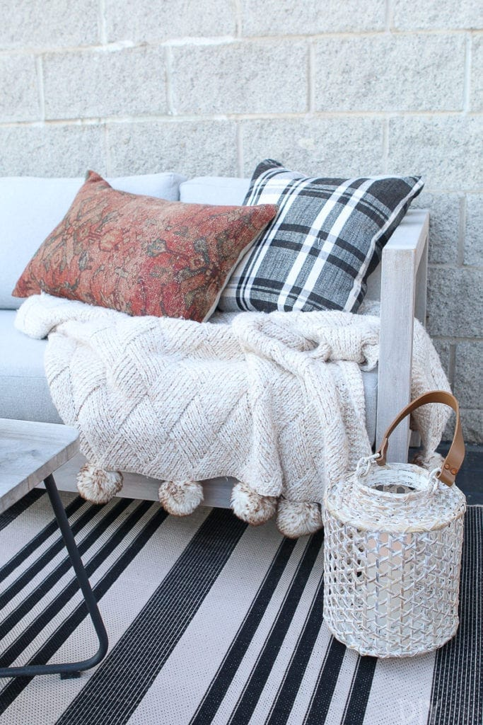 Use pillows to cozy up your fall patio