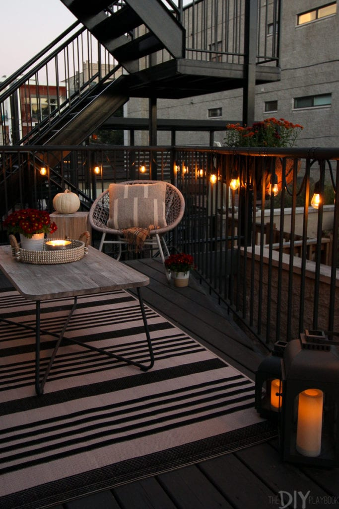 Use string light to set the mood on a fall patio