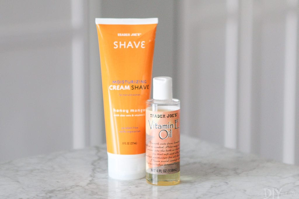 trader joe's cream shave and vitamin e oil