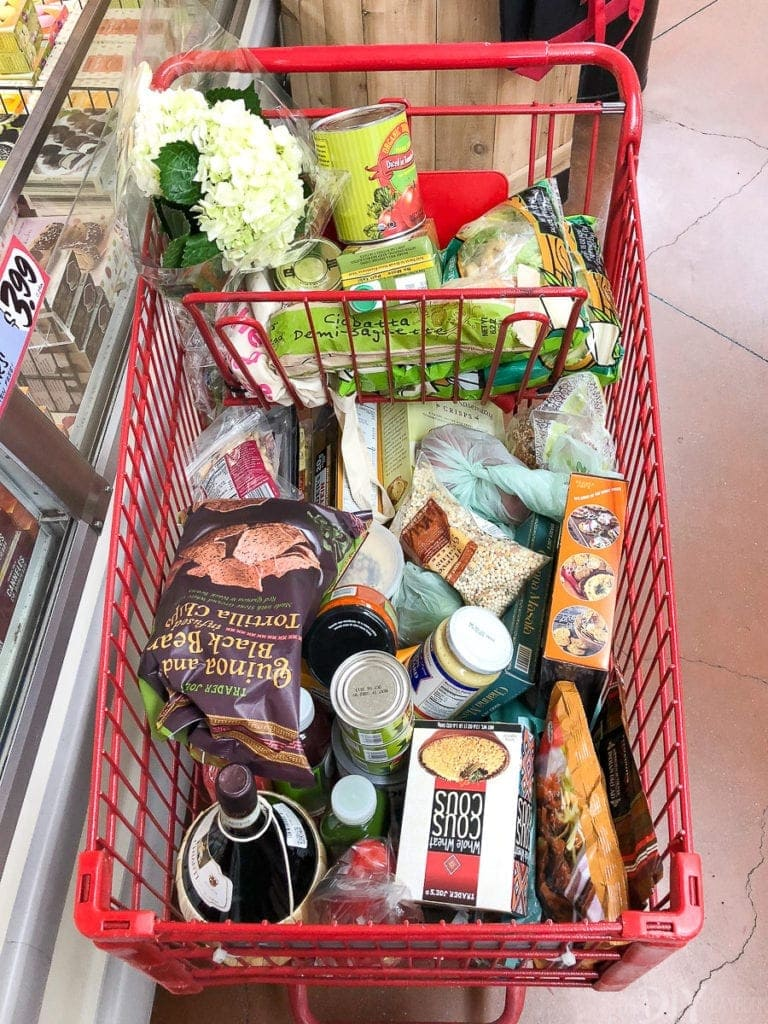 A full cart of groceries from trader joe's
