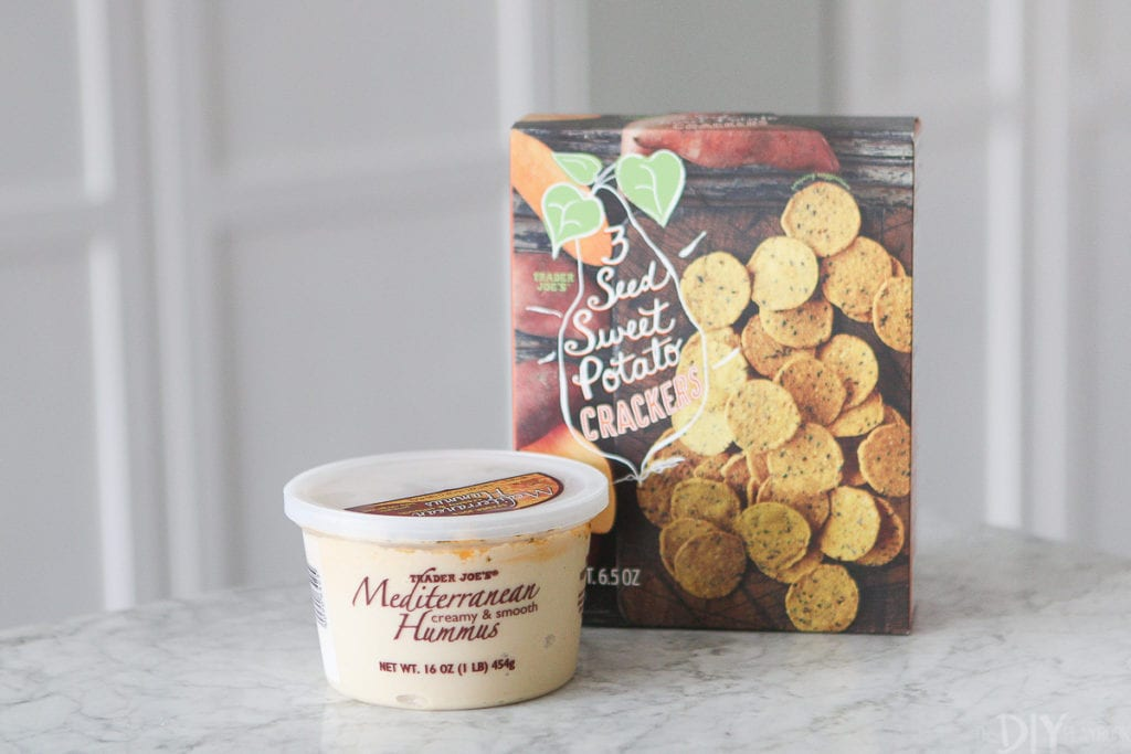hummus and sweet potato crackers from trader joe's