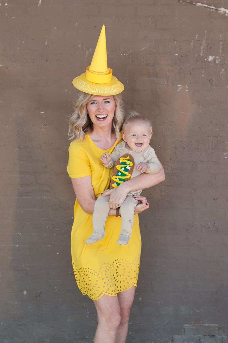 DIY mom and baby hot dog costume