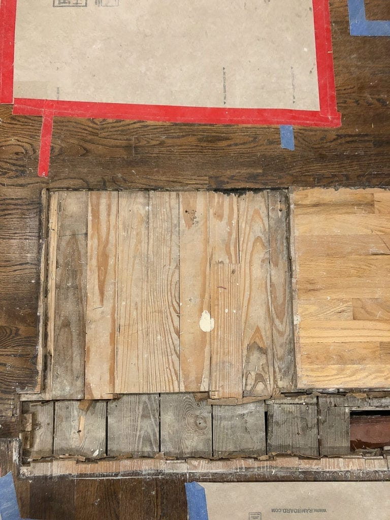 updating the wood floor after demo