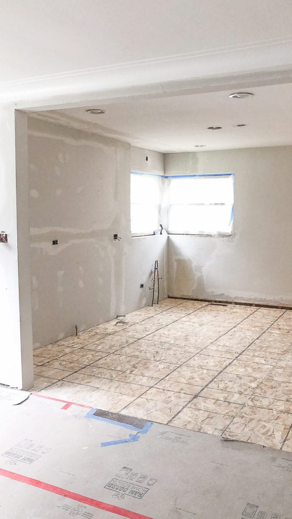 drywall in the kitchen