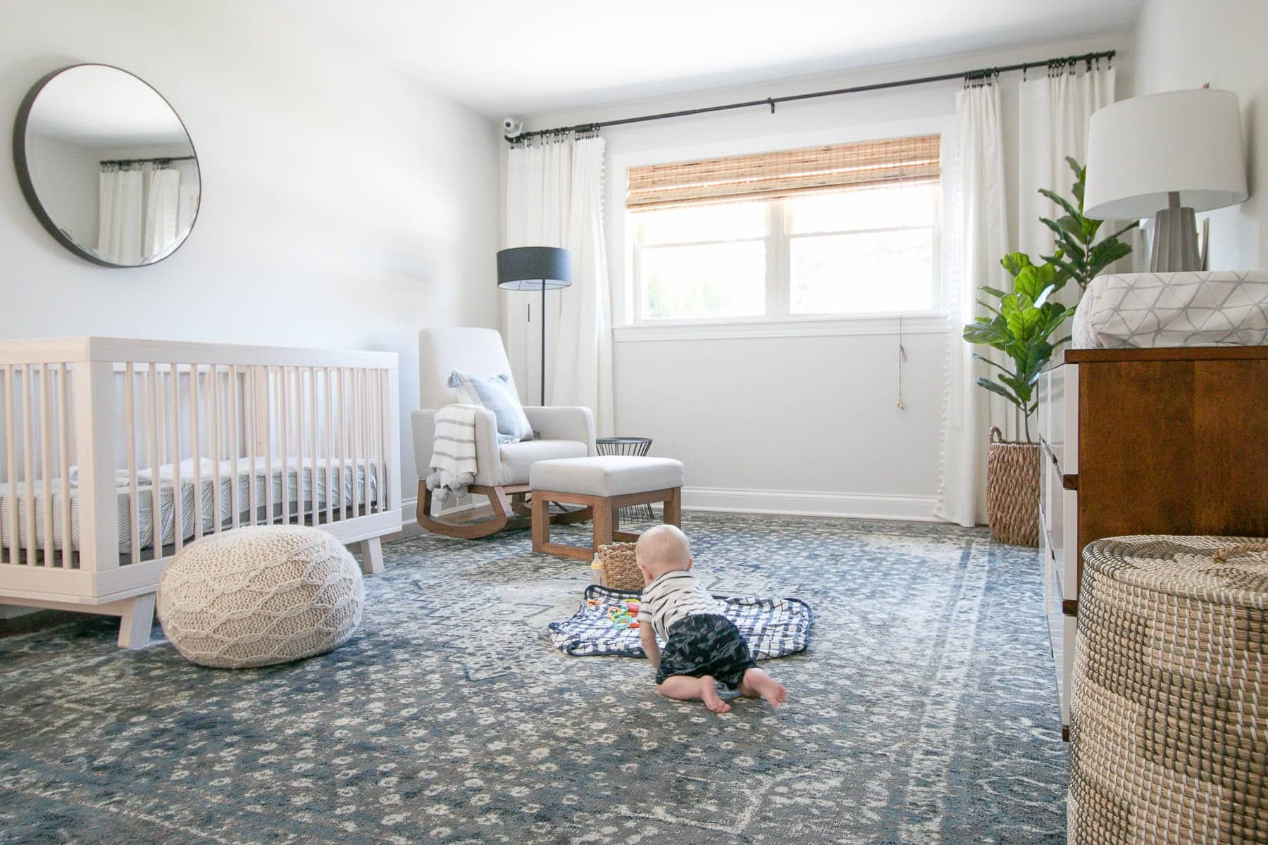 navy and forgiving nursery rug