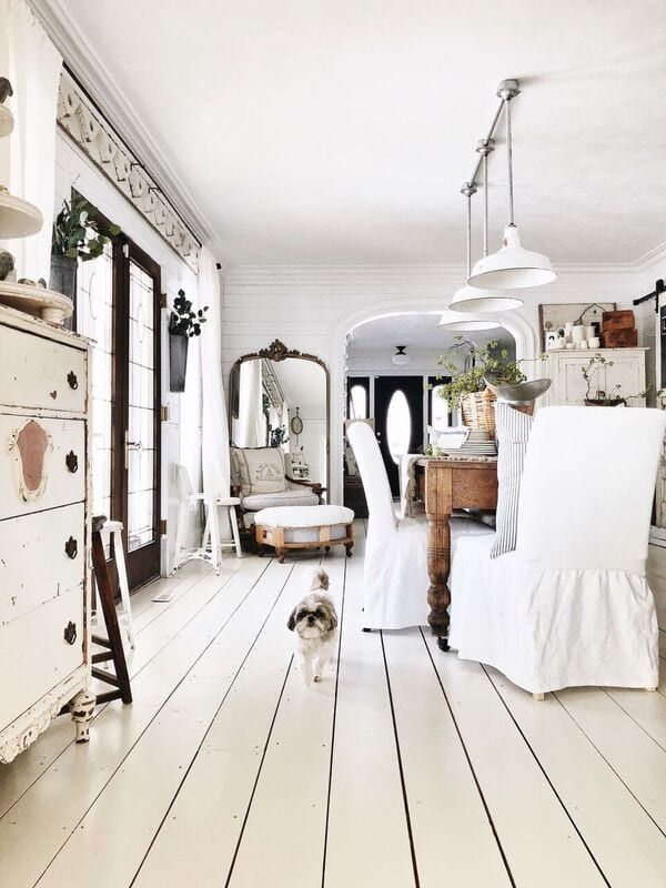 painting wood floors white