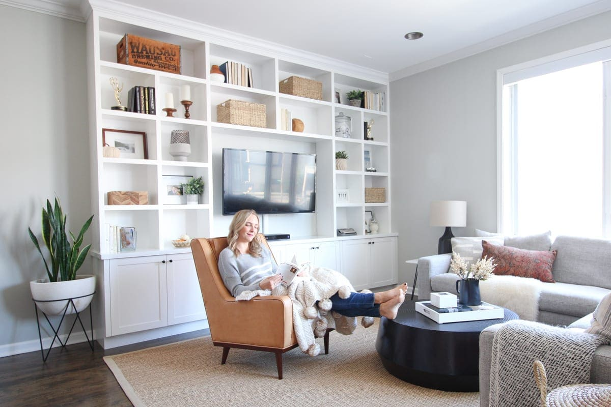 Living room area with white built-ins