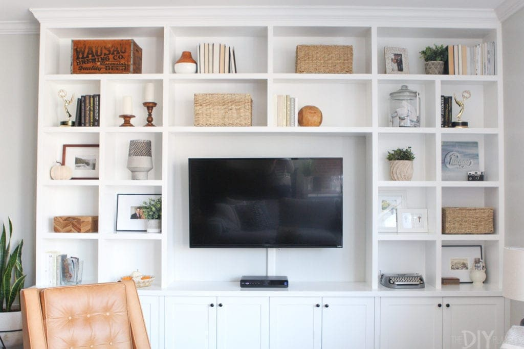 White built-ins with accessories for the fall season