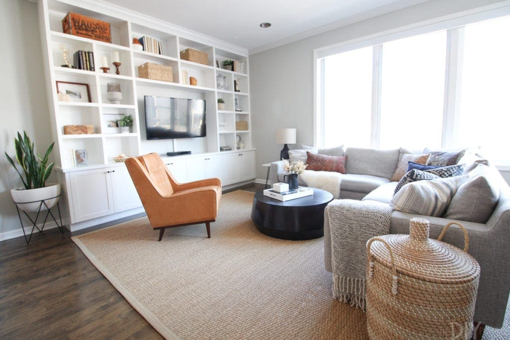 Family room setup with leather chair
