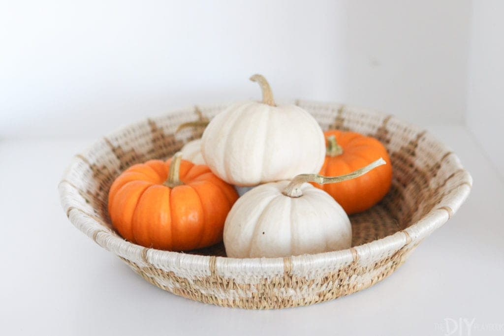 A basket full of mini pumpkins