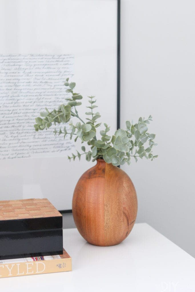 Wood vase from target with greenery