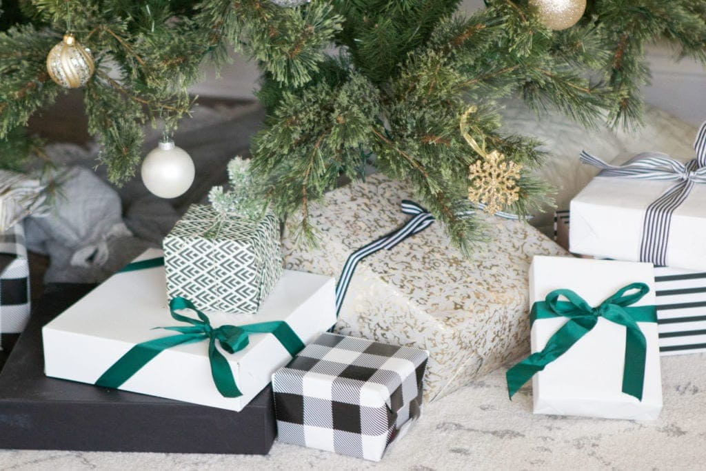 wrapped gifts using coordinating wrapping paper