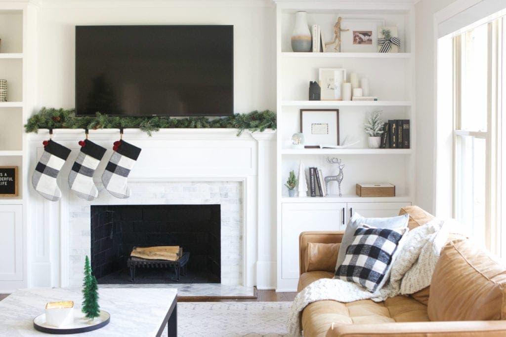 living room decor with plaid stockings