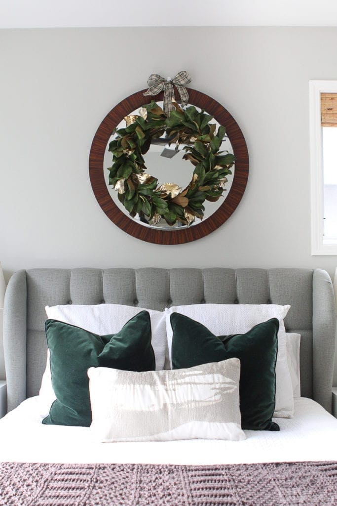 Wreath and pillows from West Elm for Christmas