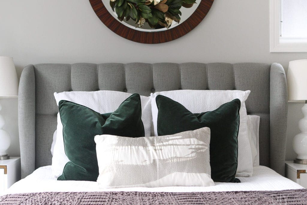 Swap out bedroom pillows for the holidays