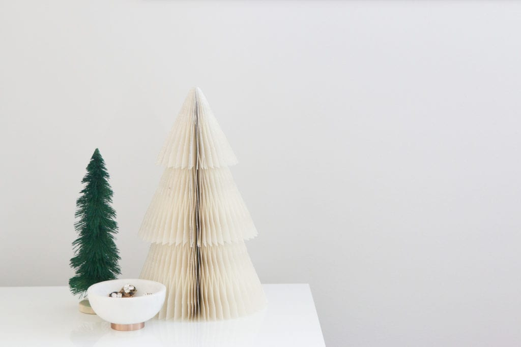 christmas trees on nightstand