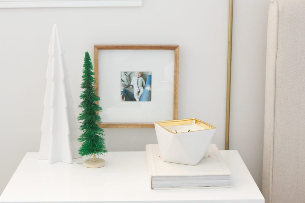 using a statement candle for the holidays from west elm