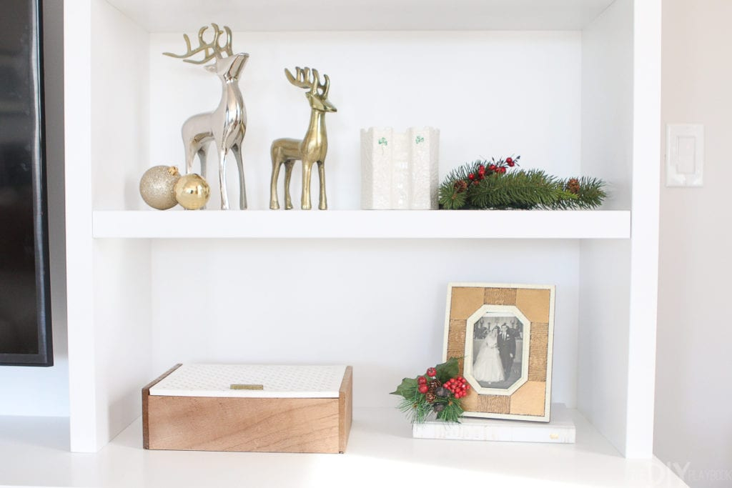 How to style shelves with holiday decor