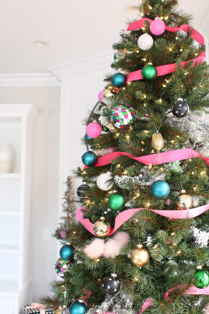 Use flocked branches to decorate your Christmas tree
