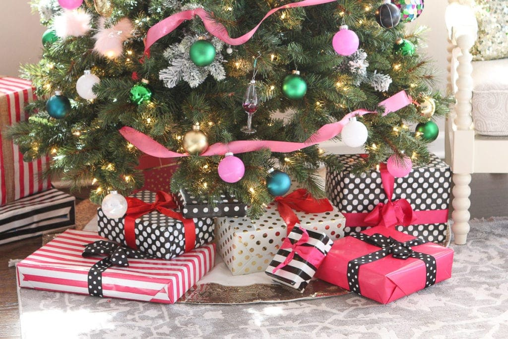Pink and polka dot wrapped gifts