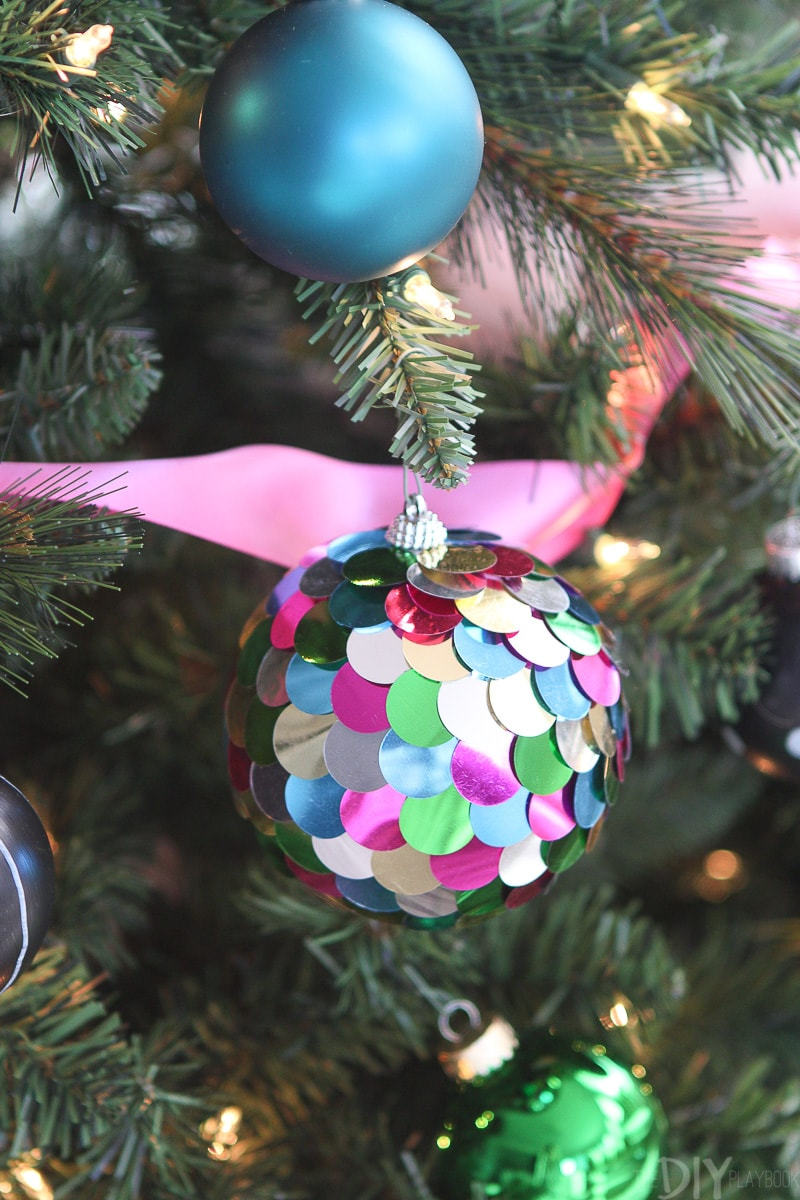 Sequined colorful ornament