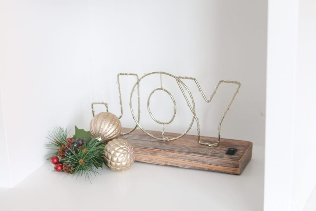 Light up Joy sign for the holidays