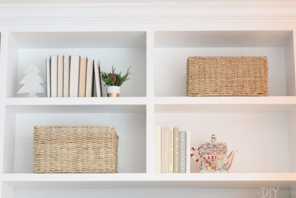 Using traditional items to decorate holiday shelves